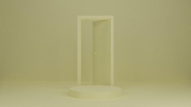 Podium renderowania 3d, stojak, gablota na pastelowym świetle, abstrakcyjne tło z drzwiami do produktu premium