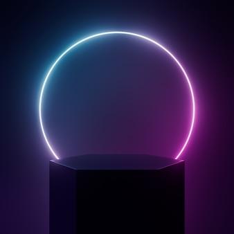 Podium renderowania 3d z czarnym światłem neonu na czarno