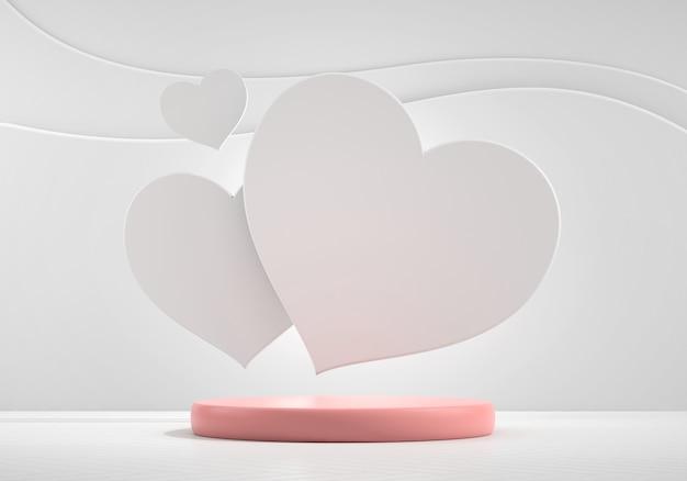 Podium sceniczne makiety z wyświetlaczem produktu w kształcie serca prezentuje renderowanie 3d