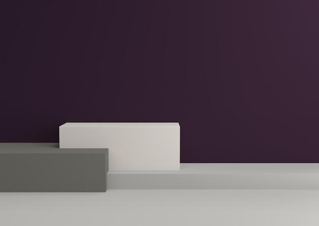 Podium w abstrakcie pasuje do królewskich relaksujących schematów kolorów, renderowania 3d.