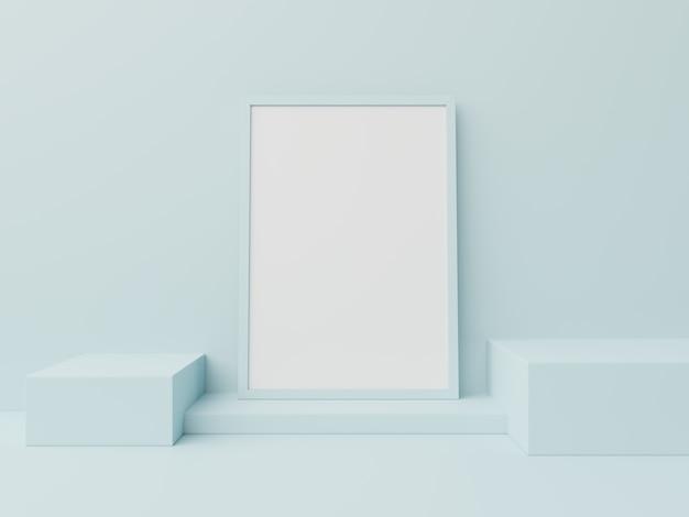 Podium w abstrakcjonistycznym plakacie dla umieszczać produkty, 3d rendering
