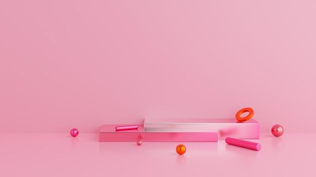Podium w abstrakcyjnym różowym składzie. kształt geometrii
