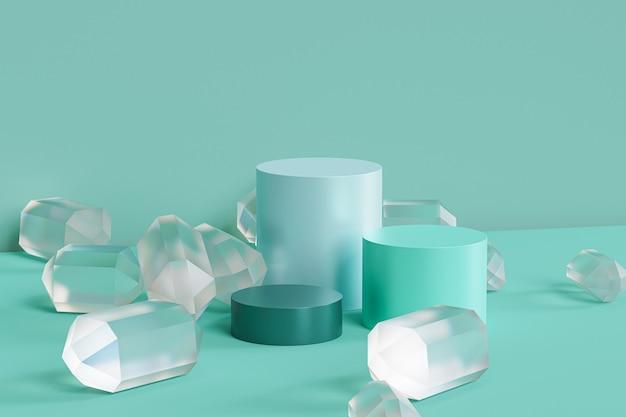 Podium w kolorze zielonej mięty ze szklanymi kryształkami na pastelowej powierzchni