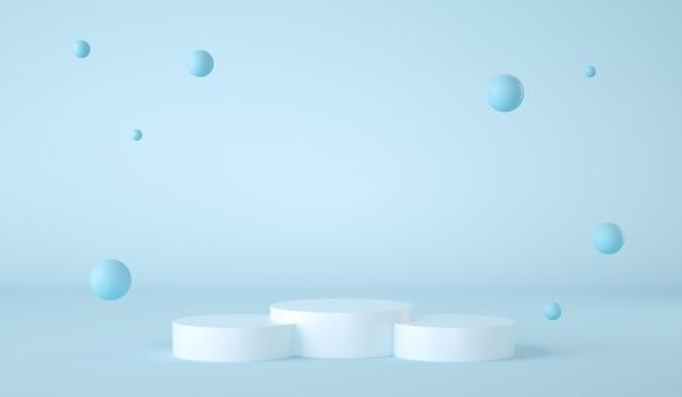 Podium w kształcie cylindra na niebieskim tle