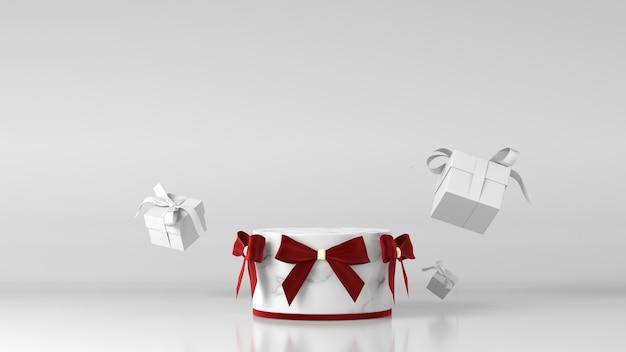 Podium w kształcie cylindra z białego marmuru z dekoracjami świątecznymi