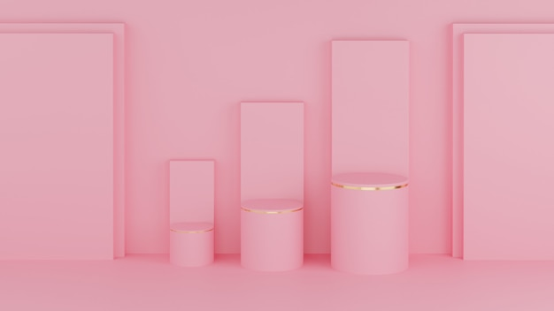 Podium w kształcie koła 3d w kolorze pastelowego różu i złotej krawędzi z trzema słupkami wykresu