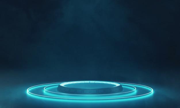 Podium w kształcie koła i świecące światło led
