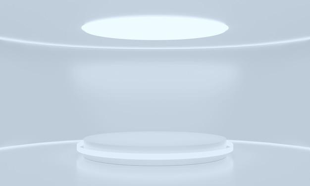 Podium w kształcie koła w białym błyszczącym pokoju