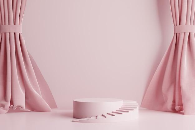 Podium w kształcie różowego koła ze schodami bocznymi na pięknym różowym tle znajdują się zasłony.