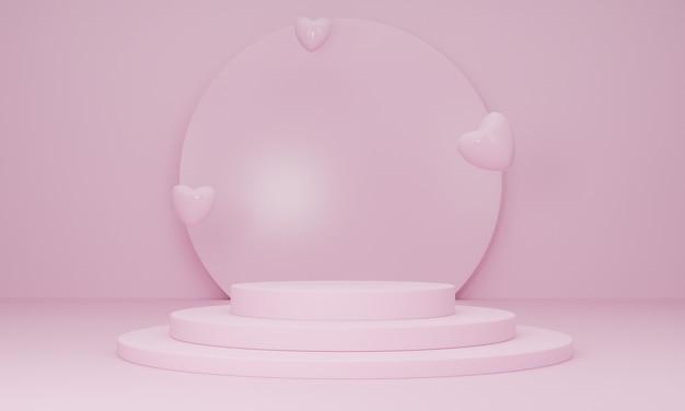Podium w zakochanej platformie i serduszkach na różowym tle, minimalne streszczenie. koncepcja szczęśliwych kobiet, matki, walentynek. renderowanie 3d