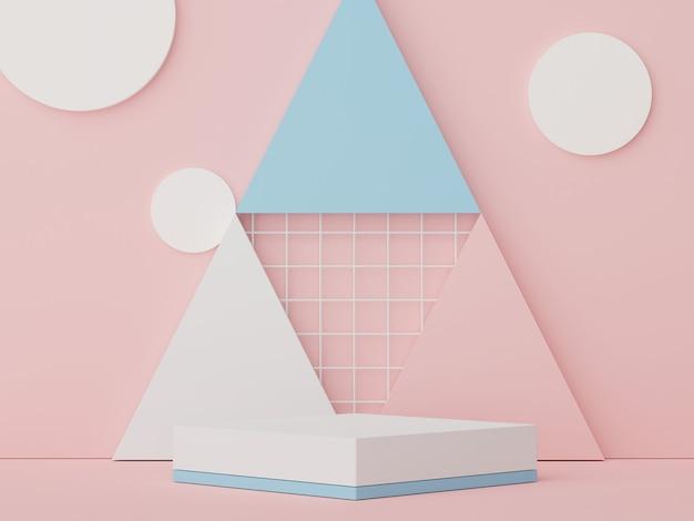 Podium wyświetlacza 3d z minimalnymi geometrycznymi kształtami projekt renderowania sceny do makiety