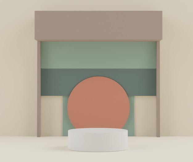Podium wyświetlacza 3d ze sceną tonu ziemi do pokazowych produktów kosmetycznych