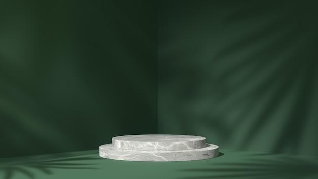 Podium z białego marmuru w cylindrze do lokowania produktu w tle liści cienia