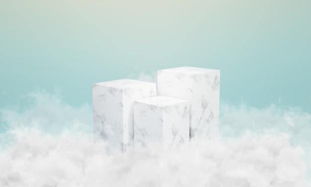 Podium z białego marmuru z chmurami wokół niego. scena do prezentacji, minimalistyczny design, stojak na produkty, renderowanie 3d