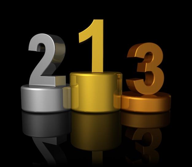 Podium z brązowymi, srebrnymi, złotymi zwycięzcami i numerem jeden, dwa, trzy - trójwymiarowa ilustracja na czarno