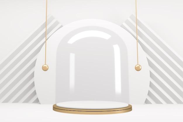 Podium z cokołem 3d ze złotym i białym podium w minimalistycznym designie. renderowanie 3d