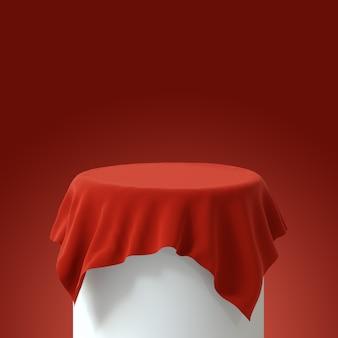 Podium z czerwonym aksamitnym obrusem. renderowanie 3d