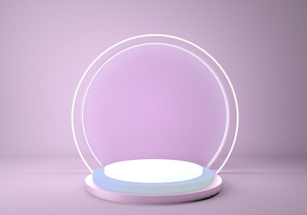 Podium z okrągłą neonową ramą, pusty stojak na produkty.