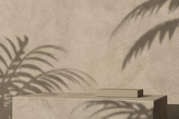 Podium z tynku pudełkowego i tropikalny cień palmowy, abstrakcyjne minimalne tło makiety do prezentacji produktu. renderowanie 3d