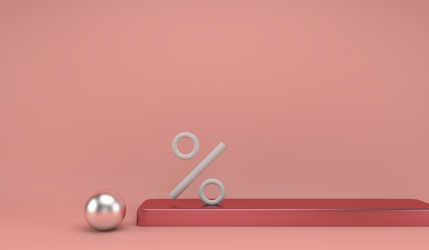Podium za najwyższą pozycję z symbolem procentu dla koncepcji: mistrz procentu, zniżki lub zwycięzca w konkurencji rynkowej