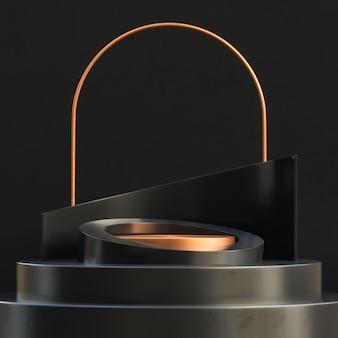 Podium ze złotym kółkiem do prezentacji produktu na luksusowym stylu czarnej betonowej ściany.
