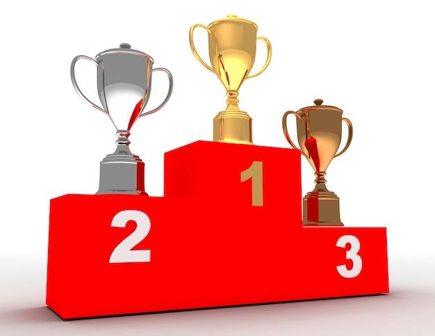 Podium zwycięzcy 3d. koncepcja podium zwycięzcy