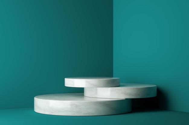 Podium zwycięzcy makiety, abstrakcyjny minimalizm i realistyczny marmur z niebieskim tłem, renderowanie 3d