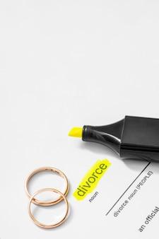 Podkreślono rzeczownik rozwodu