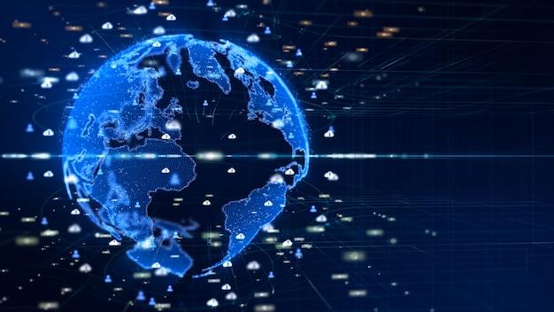 Podłączona cyfrowa sieć danych. koncepcja cyfrowej cyberprzestrzeni