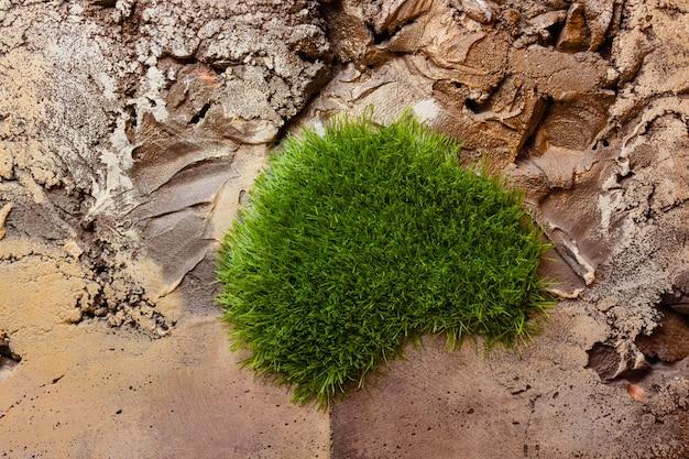 Podłoga ze sztucznej trawy i cementowa posadzka z wzorem kamienia.