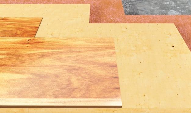 Podłogi, izolacja podłóg, ilustracja 3d na białym tle