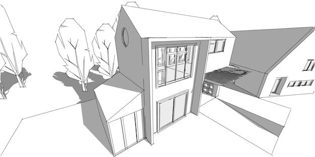Podmiejskiej dzielnicy mieszkalnej, ładny dom w sąsiedztwie, koncepcja nieruchomości, ilustracja 3d.