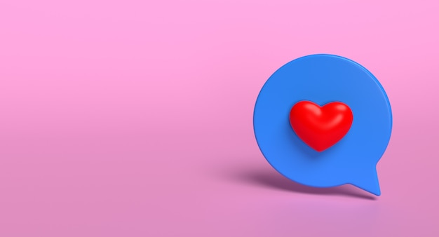 Podobnie jak ikona 3d bańki mediów społecznościowych. koncepcja znak miłości sieci. renderowanie 3d.