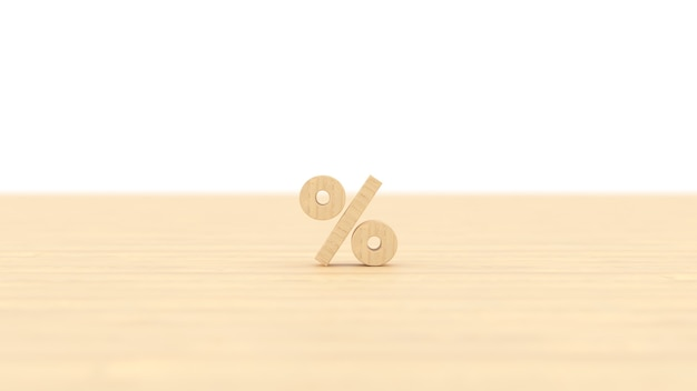 Podpisz procentowy budynek z drewna z białym odosobnionym tłem renderowania ilustracji 3d dla biznesu