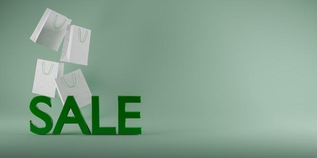 """Podpisz się napisem """"sale"""" w zielonych i białych papierowych torbach za nim. renderowania 3d"""