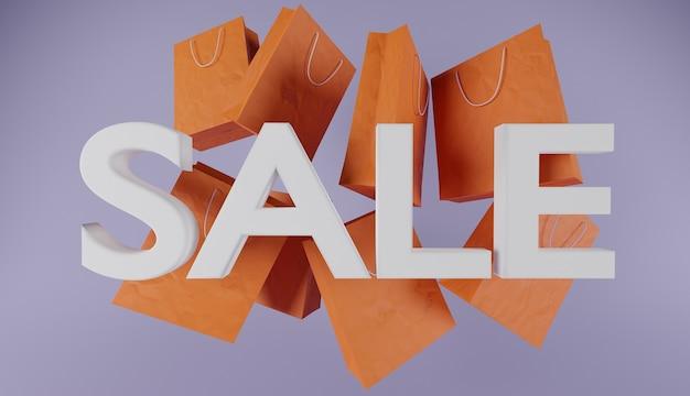 """Podpisz się napisem """"sprzedaż"""" w biało-pomarańczowych papierowych torbach na fioletowym tle."""