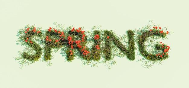 Podpisz słowem wiosna wiosennych kwiatów w renderowaniu 3d
