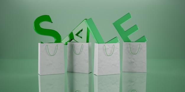 """Podpisz zielonym słowem """"sprzedaż"""" z literami wewnątrz papierowych toreb. renderowania 3d"""