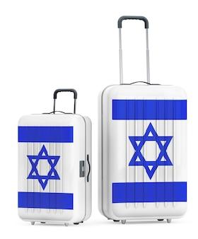 Podróż do izraela concep. walizki z flagą izraela na białym tle. renderowanie 3d