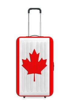 Podróż do kanady concep. walizka z flagą kanady na białym tle. renderowanie 3d