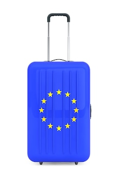 Podróż do koncepcji unii europejskiej. walizka z flagą unii europejskiej na białym tle. 3