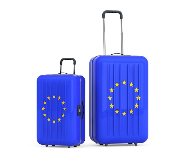 Podróż do koncepcji unii europejskiej. walizki z flagą unii europejskiej na białym tle.
