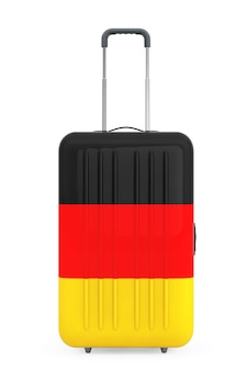 Podróż do niemiec concep. walizka z flagą niemiec na białym tle. renderowanie 3d