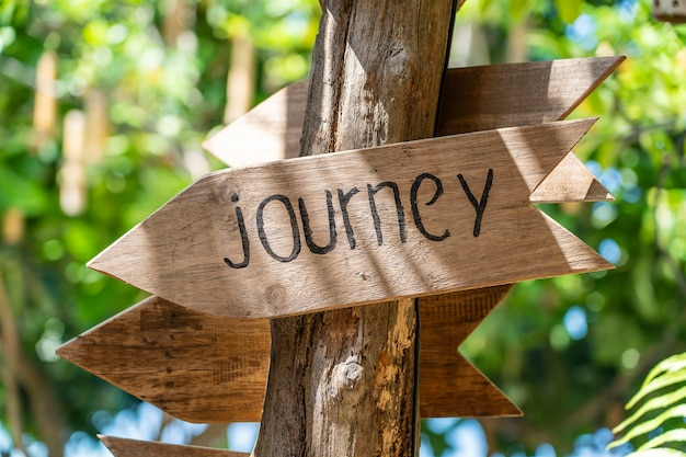Podróż tekstu na drewnianej desce w pobliżu tropikalnego hotelu na wyspie koh phangan w tajlandii. napis drewniany znak podróży w tropikach azjatyckich, z bliska