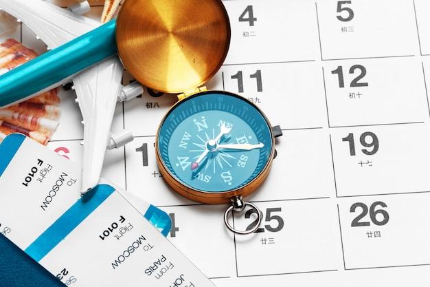 Podróże i wakacje, kompas w kalendarzu planowania