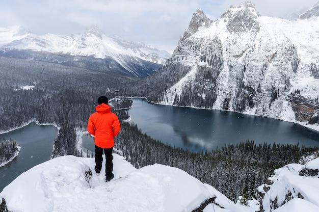 Podróżnik stojący na płaskowyżu opabin z jeziorem o'hara w śnieżny dzień w parku narodowym yoho