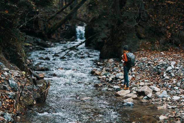 Podróżnik znajduje się w pobliżu strumienia między dwoma brzegami i lasem