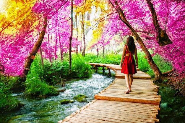 Podróżnika spacer na ścieżce w jeziorach plitwickich, chorwacja.