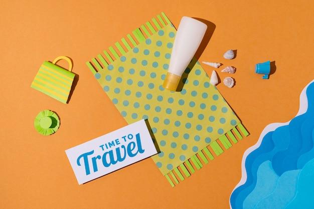 Podróżuj ponownie koncepcja w aranżacji w stylu papieru