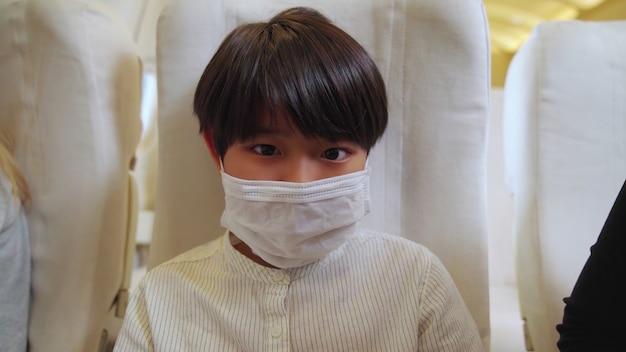 Podróżujący noszący maskę podczas podróży samolotem komercyjnym.